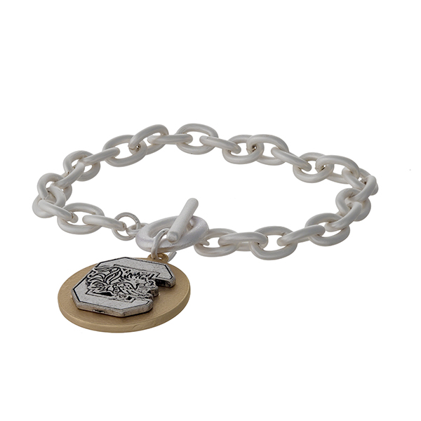 Officially licensed, two tone toggle bracelet with the University of South Carolina logo charm.