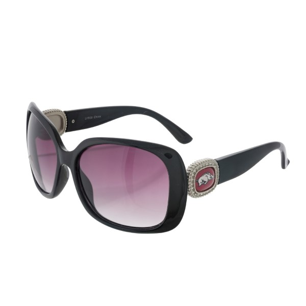 Officially licensed black sunglasses with the University of Arkansas logo on the sides. UV 400 protection.
