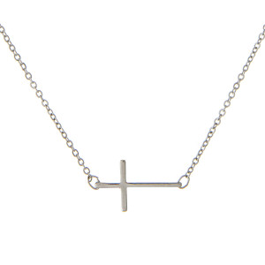 "16 inch delicate silver toned chain necklace with a  7/8"" horizontal east-west cross focal."