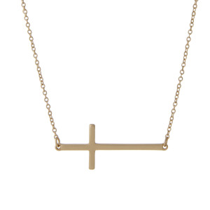 "16"" matte gold tone chain necklace with a 1.5"" horizontal horizontal east-west cross focal."