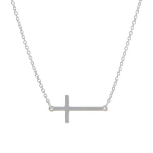"16"" matte silver tone chain necklace with a 1"" horizontal east-west cross."