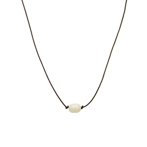 """Brown necklace featuring a cord with a faux freshwater ivory pearl accent.  Approximately 16"""" in length."""