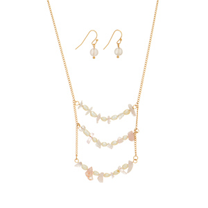 "Gold tone necklace set featuring three rows of pink chip stone and faux fresh water pearl accents. Approximately 27"" in length."