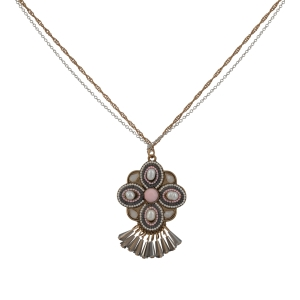"Two tone double stranded necklace with a burnished gold tone faux pearl and pink stone floral pendant. Approximately 29"" in length."