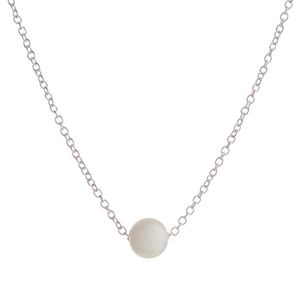 """Dainty silver tone necklace with a single faux ivory pearl. Approximately 16"""" in length."""
