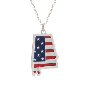 """Silver tone necklace with an American flag inspired state of Alabama pendant. Approximately 18"""" in length."""