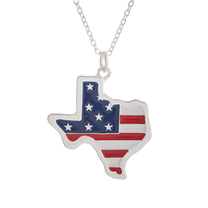 """Silver tone necklace with an American flag inspired state of Texas pendant. Approximately 18"""" in length."""