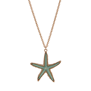 "Gold tone necklace displaying a mint green thread wrapped starfish pendant. Approximately 30"" in length."