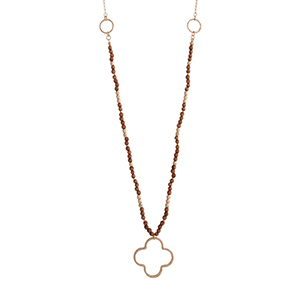 Wholesale quatrefoil jewelry and accessories judson company worn gold tone wood bead necklace with an open quatrefoil pendant approximately 29 in aloadofball Choice Image
