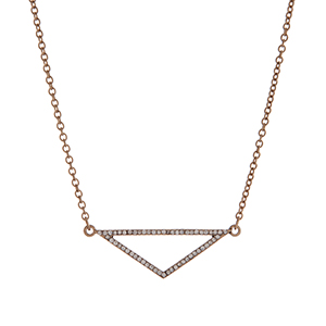 "Worn gold tone pave triangle necklace. Approximately 14"" in length."