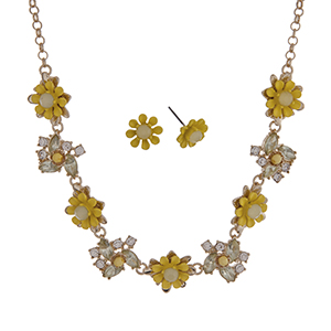 """Gold tone necklace set with yellow flowers accented by clear rhinestones. Approximately 16"""" in length."""
