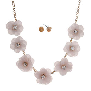 "Gold tone necklace set with light pink sequin flowers with clear rhinestone centers. Approximately 18"" in length."