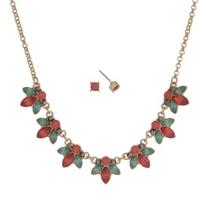 """Gold tone necklace set with mint green and coral flowers and rhinestone accents. Approximately 16"""" in length."""