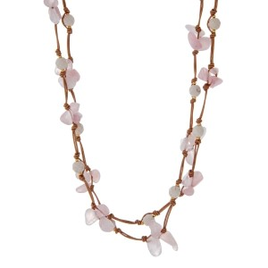 "Tan cord wrap necklace with rose pink natural chip stones and ivory faceted beads. Approximately 60"" in length. Handmade in the USA."