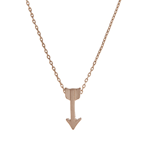 """Dainty gold tone necklace featuring an arrow pendant. Approximately 18"""" in length."""