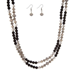 "Black and gray beaded wrap necklace set. Approximately 60"" in length."