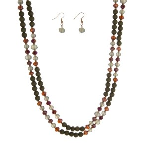 "Olive green beaded wrap necklace set. Approximately 60"" in length."