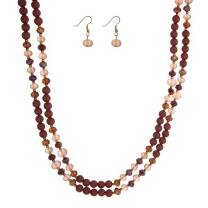 "Burgundy beaded wrap necklace set. Approximately 60"" in length."