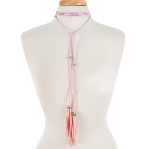 "Light pink braided open wrap necklace with silver tone beads and tassels. Approximately 80"" in length."