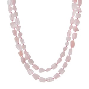 "Knotted wrap necklace with rose quartz chip stones. Approximately 46"" in length. Handmade in the USA."