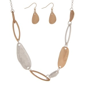 """Silver tone necklace set with hammered two tone pieces and matching earrings. Approximately 18"""" in length."""