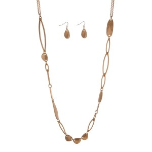 """Gold tone necklace set with hammered gold tone pieces and matching earrings. Approximately 32"""" in length."""