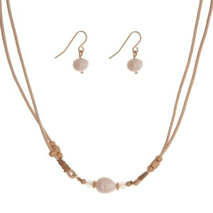 """Ivory cord necklace set with a freshwater pearl bead and matching fishhook earrings. Approximately 16"""" in length."""