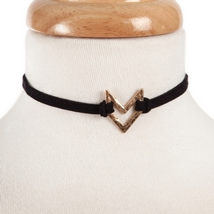 """Black suede choker with a hammered gold tone arrow shape. Approximately 12"""" in length."""
