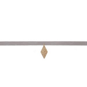 """Gray faux leather choker with a hammered gold tone diamond shape pendant. Approximately 12"""" in length."""