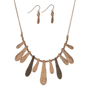 """Gold tone necklace set with hammered metal fringe, accented with gray rhinestones. Approximately 16"""" in length."""