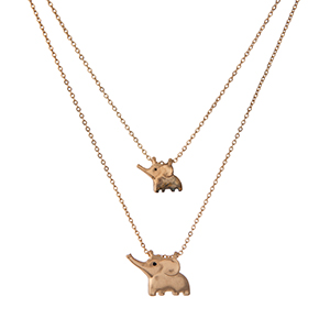 """Two piece, gold tone dainty necklace set, each with an elephant pendant. Approximately 14"""" and 16"""" in length."""