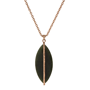 """Gold tone necklace with an olive stone pendant. Approximately 32"""" in length."""
