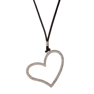"Black cord necklace with a hammered silver tone heart pendant. Adjustable up to 36"" in length."