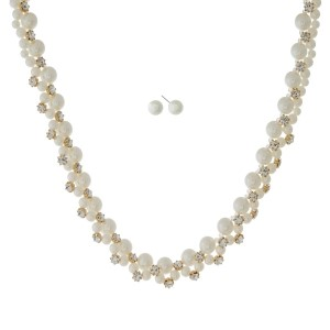 """Gold tone necklace set with cream pearl beads and clear rhinestones. Approximately 16"""" in length."""