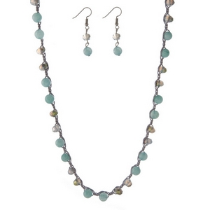 """Gray and mint green beaded and crocheted necklace with matching fishhook earrings. Approximately 30"""" in length."""