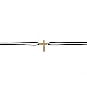 """Black waxed cord choker with a gold tone cross focal. Approximately 12"""" in length."""