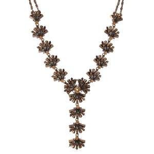 "Burnished gold tone 'Y' necklace with gray, topaz, and pink rhinestones. Approximately 16"" in length."