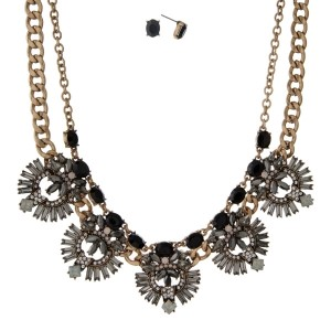 """Burnished gold tone necklace with black, gray and white opal rhinestones and matching stud earrings. Approximately 16"""" in length."""