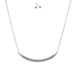 """Silver tone necklace set with a pave clear rhinestone curved bar pendant and matching stud earrings. Approximately 16"""" in length."""