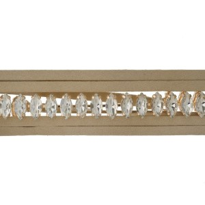 """Tan suede wrap necklace with a gold tone choker displaying clear rhinestones. Approximately 70"""" in length."""