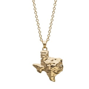 "Gold tone necklace with a hammered pendant in the shape of Texas. Approximately 18"" in length."