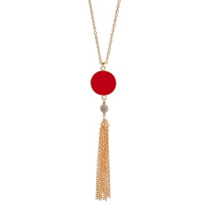 "Gold tone necklace with a red, epoxy circle pendant for vinyl monograms and a chain tassel. Approximately 32"" in length."
