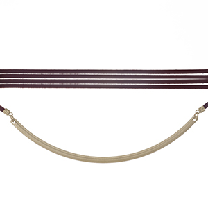 """Burgundy, faux leather wrap choker necklace with a matte gold tone curved bar. Approximately 80"""" in length."""