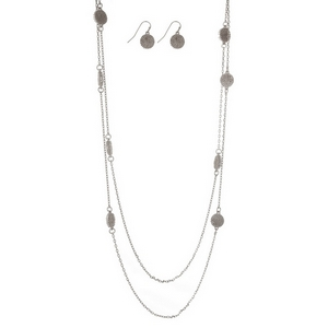 "Silver tone double layer necklace set with circle stationaries and matching fishhook earrings. Approximately 32"" in length."