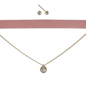 "Pink faux suede and gold tone, double layer choker with matching rhinestone stud earrings. Approximately 12"" in length."