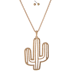 "Gold tone necklace with a cactus pendant. Approximately 32"" in length."