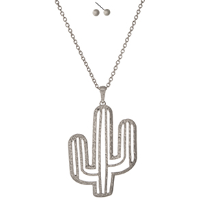 """Silver tone necklace with a cactus pendant. Approximately 32"""" in length."""