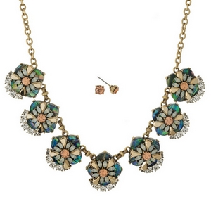 """Gold tone necklace set with white abalone, clear and peach rhinestones and matching stud earrings. Approximately 16"""" in length."""