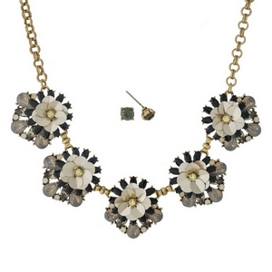 """Gold tone necklace set with black, gray and opal rhinestone and sequin flowers, and matching stud earrings. Approximately 16"""" in length."""