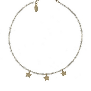 "Clear beaded, memory wire choker with gold tone star charms and a 3"" extender."